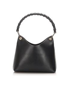 Gucci Bamboo Leather Shoulder Bag Black