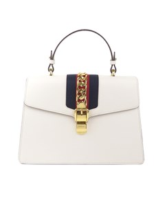 Gucci Medium Sylvie Leather Satchel White
