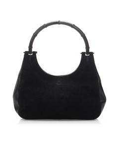 Gucci Bamboo Suede Handbag Black