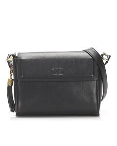 Valentino Leather Tassel Crossbody Bag Black