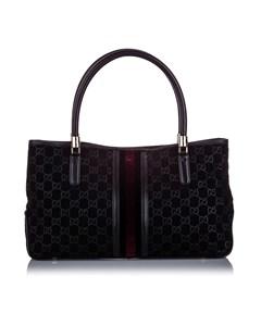 Gucci Gg Suede Web Tote Bag Black