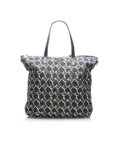 Prada Tessuto Stampato Tote Bag Blue