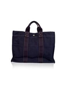Hermes Paris Vintage Navy Blue Cotton Fourre Tout Mm Tote Bag