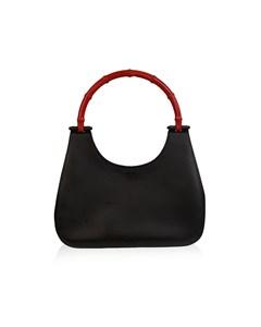 Gucci Black Leather Hobo Bag With Bamboo Handle Handbag