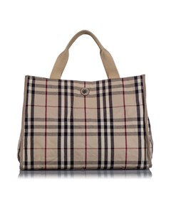 Burberry House Check Canvas Tote Bag Brown