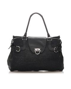 Ferragamo Gancini Straw Tote Bag Black
