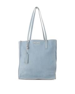 Miu Miu Madras Leather Tote Bag Blue