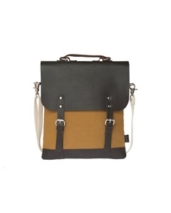 Messenger Tote Mini (leather Top) Khaki/ Dark Brown Leather