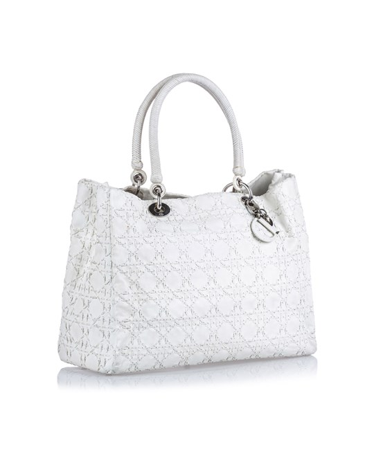Christian Dior Dior Cannage Leather Tote Bag White