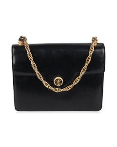 Gucci Vintage Black Leather Handbag With Chain Handle