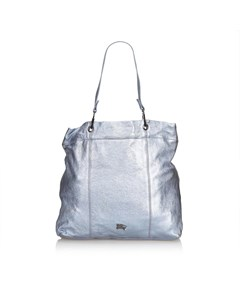 Burberry Metallic Leather Tote Bag Blue