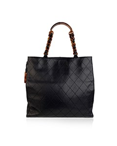 Chanel Vintage Blue Quilted Leather Tote Bag Shopper Lucite Handles