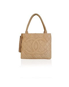 Chanel Beige Quilted Leather Cc Logo Tote Shoulder Bag