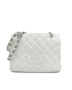 Chanel Caviar Petite Timeless Shopping Tote White