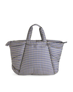 Oversized Puffy Tote Bag Blue/beige