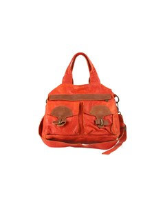 Liebeskind Berlin Orange Leather Satchel Tote With Front Pockets