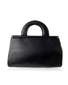 Genny Vintage Black Leather Top Handles Bag Handbag