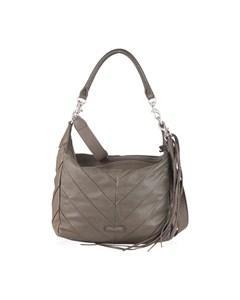 Liebeskind Beige Gray Leather Chevron Ania Hobo Shoulder Bag