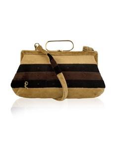 Roberta Di Camerino Vintage Beige Striped Velvet Shoulder Bag