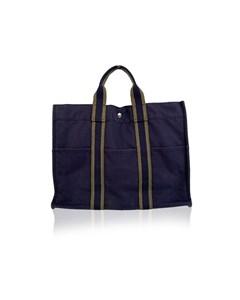 Hermes Paris Blue And Green Cotton Fourre Tout Mm Tote Bag
