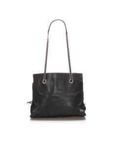 Prada Leather Chain Tote Bag Black