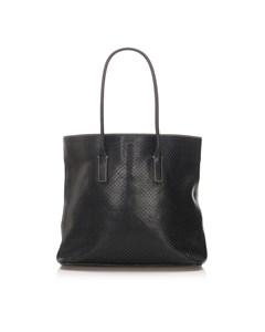 Prada Perforated Leather Tote Bag Black