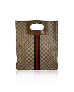 Gucci Vintage Tan Monogram Shopping Bag Shopper Tote With Stripes