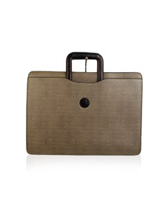 Fendi Vintage Gray Canvas Retractable Handles Briefcase Work Bag