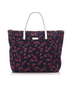 Gucci Printed Canvas Tote Bag Blue