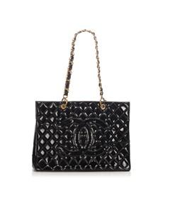Chanel Matelasse Patent Leather Tote Bag Black