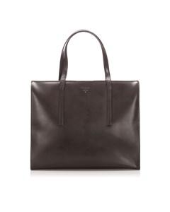 Prada Patent Leather Tote Bag Brown