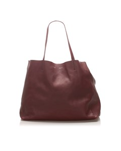 Celine Horizontal Cabas Leather Tote Bag Red