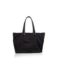 Chanel Black Nylon Canvas Travel Line Tote Bag Handbag