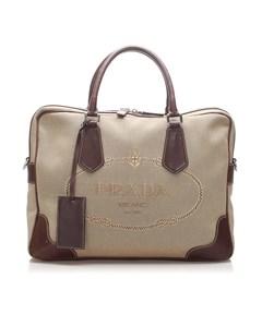Prada Canapa Canvas Business Bag Brown