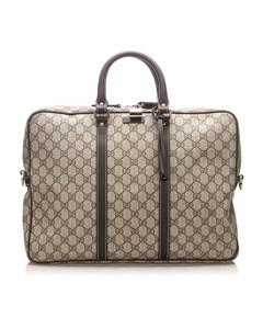 Gucci Gg Supreme Business Bag Brown