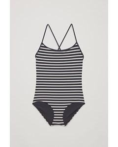 Crossover Scoop-neck Swimsuit Navy / White