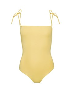 Straight Neckline Swimsuit Yellow