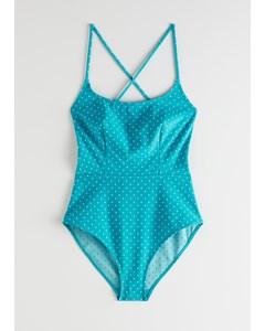Criss Cross Polka Dot Swimsuit Turquoise