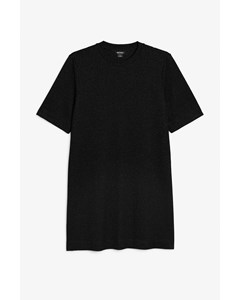 Ribbed Glitter T-shirt Dress Black With Glitter