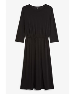 Elastic-waist Long Dress Black Magic
