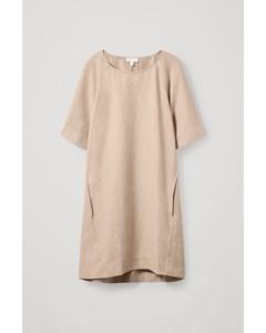 Cotton-linen Mix A-line Tie Dress Beige