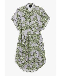 Belted Shirt Dress Green Floral Print
