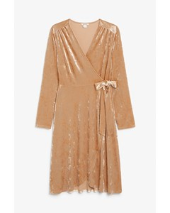 Velvet Wrap Dress Shiny Beige