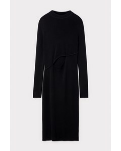 Knitted Fitted Dress With Cut Black