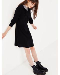Collar Button Front Dress-1 Black