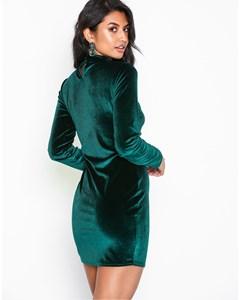 Velvet Polo Dress Green