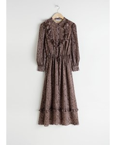 Gabriella geprinte midi-jurk met ruches, bib bruin