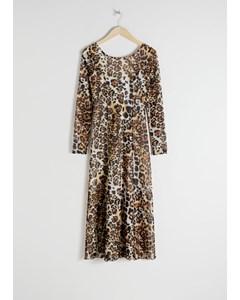 Exotische mesh Jaguar midi-jurk wit