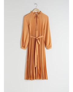 Kavinski Houndstooth Plissee Midi Kleid Gelb