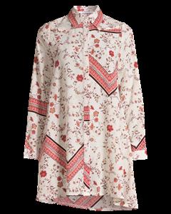 Printed Shirt Dress Cream Rust Border